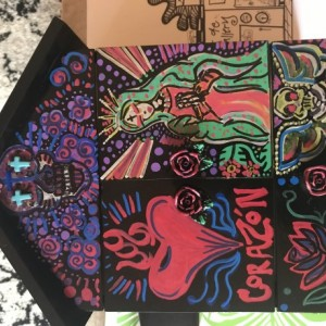 Corazon, shadow box with lights - hand painted