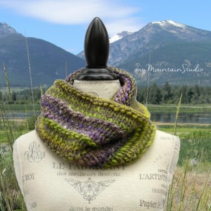 Brio - Women's Luxury Hand Knit Cowl in Purple and Green