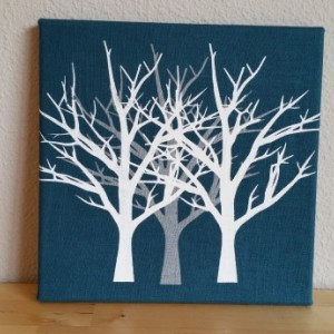 Screenprinted white and silver trees on dark teal blue textured fabric canvas wall art - authentic handmade