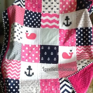 Hot Pink/Navy Nautical Baby quilt