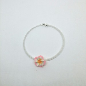 Pearl White Seed Beads with Pink and White Flower Cuff Bracelet
