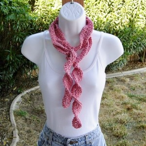 Women's Rose Pink Skinny SUMMER SCARF Small 100% Cotton Spiral Crochet Knit Narrow Lightweight, Twisted, Solid Light Pink Beach Scarf, Crochet Necklace, Ready to Ship in 2 Days