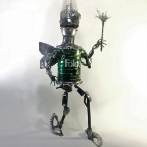 "Found Object Robot ""the Fairy of Decaffenation"" Assemblage Scuplture"