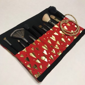 Gold and Red Hearts Makeup Brush Roll Case, Valentines Day Gift, Makeup Gift, Valentines Day Gift for Her