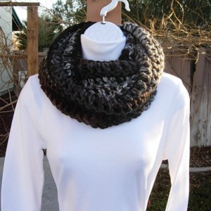 INFINITY SCARF Loop Cowl Black, Brown, Gray, & Off White Stripes, Extra Soft 100% Acrylic Crochet Knit Striped Winter Wide Circle Wrap, Ready to Ship in 3 Days