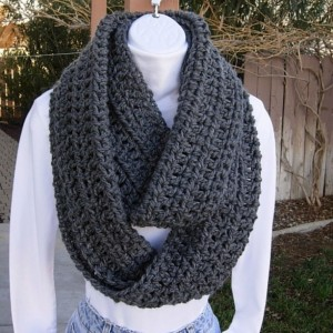Women's Large INFINITY SCARF Loop Cowl, Solid Charcoal Grey Gray, Big Wide Soft Winter Soft Crochet Knit, Bulky Wrap, Ready to Ship in 3 - 5 Days