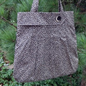 Leopard Canvas Pleated Hobo Style Handmade Fabric Handbag