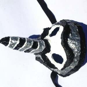 Sliver, White and Black Nose Mask - Handmade One of a kind Art