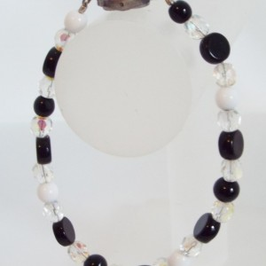 Black, White and Clear Glass Crystal Bracelet