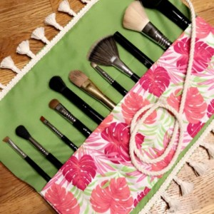 Pink & Green Tropical Palm Makeup Brush Roll Case with White Fringe Tassel