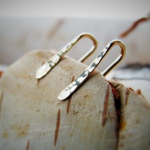 Tiny, Minimal 14k Gold Ear Climbers- Boho, Minimalist, 14k Gold Filled, Hand Hammered and Forged, Ear Crawlers,