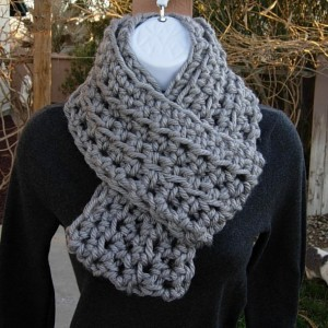 INFINITY SCARF Cowl Loop Light Solid Grey Gray 100% Soft Bulky Acrylic Thick Crochet Knit Winter Eternity Circle..Ready to Ship in 3 Days