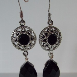 Black and Silver Sun with a Black Flat Faceted Teardrop Drop Earrings