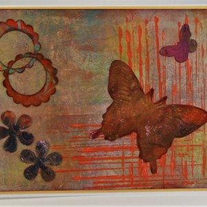 Two scalloped circles, 2 flowers, big & small butterflies with lines
