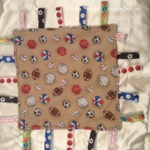 Baby Tag Security Blanket Multisports theme Minky fabric on back