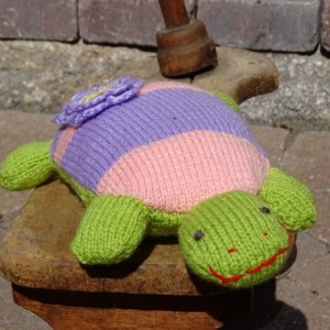 Turtle, Small Pillow, Hand Knit Toy, Knitted Turtle, Striped Toy,