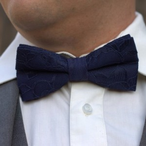 Navy Blue Bow Tie - Navy Blue Lace Bow Tie - Midnight Blue Bow Tie - Men's Bow Tie - Baby Bow Tie