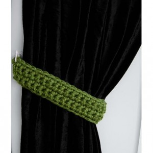 Curtain Tiebacks Set, Curtain Tie Backs, One Pair Solid Green Drapery Ties, Drapes, Shower Curtain Holders, Crochet..Ready to Ship & Custom