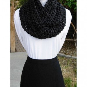 INFINITY SCARF, Dark Gray Cowl, Grey Loop Scarf, Solid Gray Scarf, Crochet Scarf, Soft Winter Scarf, Off Black Cowl..Ready to Ship in 3 Days