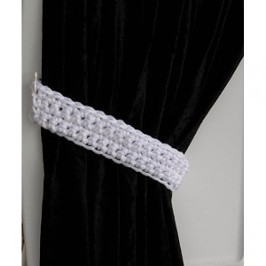 White Curtain Tie Backs, Curtain Tiebacks, One Pair, Solid White Holdbacks, Drapery Drapes Holders, Crochet Knit..Ready to Ship & Custom