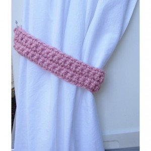 One Pair of Solid Light Pink Curtain Tie Backs, Drapery Tiebacks for Drapes, Simple Basic, Crochet Knit, Girl's Nursery, Baby Room Decor,  Ready to Ship in 2 Days