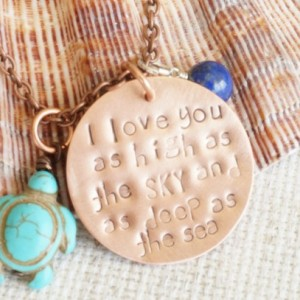 I Love You As High As The Sky And As Deep As The Sea Copper Necklace