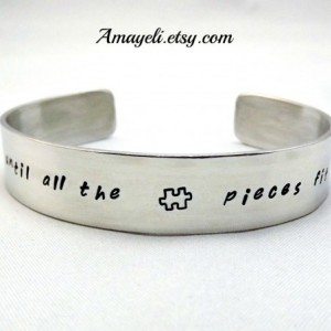 Autism awareness jewelry, silver aluminum cuff bracelet, puzzle piece jewelry, custom jewelry, name bracelet, engraved bracelet, han stamped