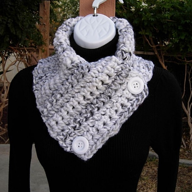 White Gray And Black Striped Crochet Neck Warmer Scarf