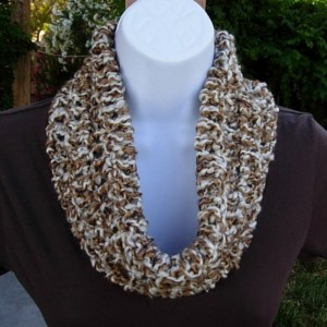 SUMMER COWL SCARF, Caramel Tan Brown & Off White, Small Short Infinity Loop Crochet Knit Soft Lightweight Neck Warmer..Ready to Ship in 3 Days