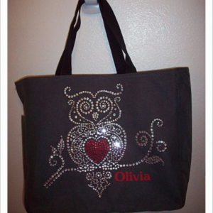 Personalized Rhinestone Owl Tote Bag with Pockets