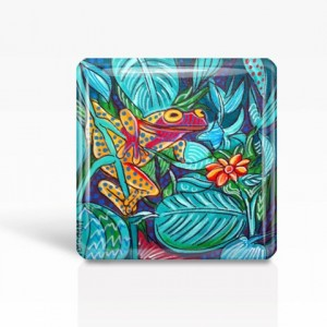 "Mexican Folk Art- TROPICAL FROG - Glass MAGNET By Artist A.V.Apostle- 2""x 2"""