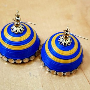 Blue and Yellow Dome Earrings