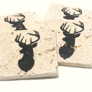 Deer Head Coasters Natural Travertine Tile Stone Coasters Set of 4 with Full Cork Bottom Deer Coasters Antler Coasters Hunter Coasters