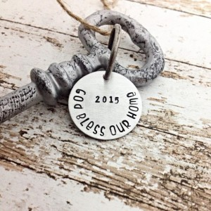Housewarming Gift, HOME DECOR, Hand stamped key, new home, skeleton key, Personalized Gift