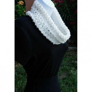 Women's SUMMER COWL SCARF Solid Pure White, Small Short Infinity Loop, Crochet Knit, Soft Handmade Lightweight Neck Warmer..Ready to Ship in 3 Days