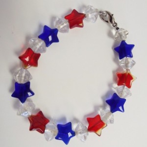 Red and Blue Glass Stars with Clear Glass Bi Cone Beads Bracelet
