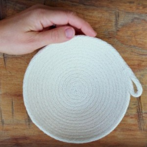set of 3 small natural white coiled rope baskets, altar bowls