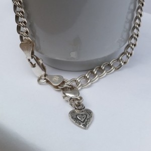 Sterling Silver Double Link Chain Charm Bracelet with Tiny Artisan Heart