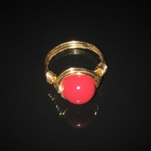 Handmade 14kt Gold Filled Wire Wrapped Red Coral Swarovski Crystal Pearl Ring