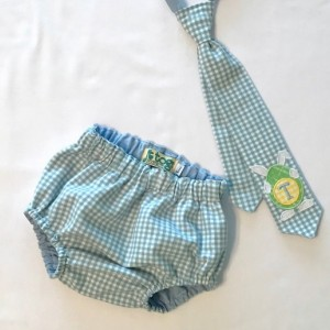 Soft Blue Gingham Tie and Diaper Cover Set with Bunny Applique and Monogram Initial on Tie.