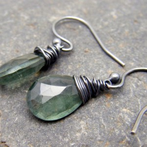 Moss Aquamarine and Sterling Silver Earrings