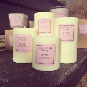 Rose Candles. FREE SHIPPING. Scented Soy. Set of 4 Pillars.