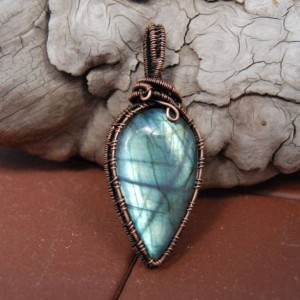 Flashy Labradorite Pendant crafted with pure copper wire - one of a kind piece of wearable art.