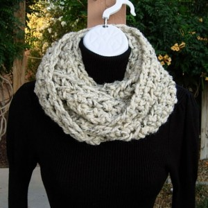 Extra Long INFINITY SCARF, Oatmeal Beige Light Brown Tweed, Narrow Skinny Winter Loop Thick Soft Crochet Knit Wool Blend..Ready to Ship in 2 Days