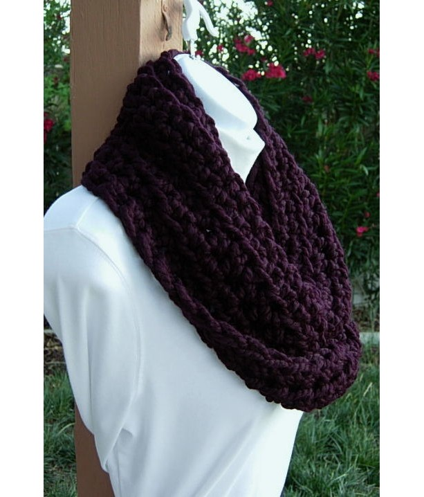 Dark Eggplant Purple Winter Crochet Knit Infinity Cowl