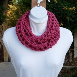 Small INFINITY SCARF, Skinny Loop Scarf Short Winter Cowl Solid Raspberry Dark Pink Soft Crochet Circle Neck Warmer..Ready to Ship in 2 Days