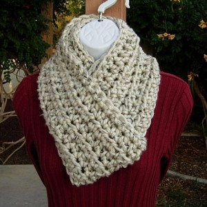 COWL SCARF Infinity Loop, Off White Ivory Tweed with Tan and Black, Soft Bulky Crochet Knit Winter Circle, Neck Warmer..Ready to Ship in 3 Days