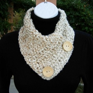 NECK WARMER SCARF, Handmade Buttoned Cowl, Off White Cream Beige Light Gray, Soft Acrylic, Crochet Knit Winter Scarflette, Natural Wood Buttons..Ready to Ship in 2 Days