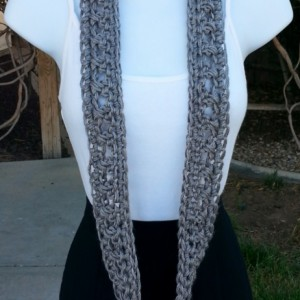 Small Gray SUMMER SCARF Infinity Loop, Solid Grey Cowl, Soft Lightweight Acrylic Crochet Knit Endless Circle Skinny..Ready to Ship in 2 Days