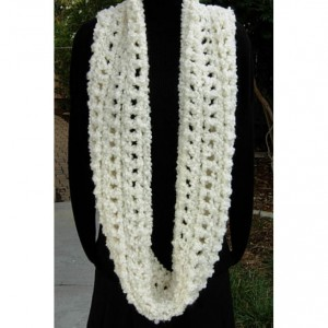 Bulky Crochet INFINITY SCARF, Oversized Cowl, Light Solid Cream, Winter White Large Thick Wide Chunky Soft Knit..Ready to Ship in 3 Days